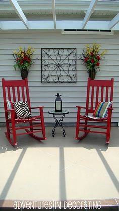 rocking chairs!! Wall ornament dresses up the deck