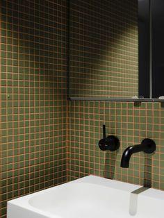Bathroom Inspo, Bathroom Inspiration, Interior Inspiration, Bathroom Colors, Brick Cottage, Walnut Timber, Coloured Grout, Mid Century Bathroom, Bathroom Interior Design
