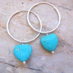 Turquoise Hearts on Sterling Silver Hoops Sterling Silver Hoops, Free Gifts, Turquoise Bracelet, Dangles, Hearts, Hoop Earrings, Gemstones, Jewelry, Jewels