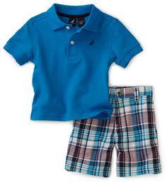 Nautica Sportswear Kids Baby-Boys Infant Short Sleeve Solid Polo Shirt And Plaid Short Set