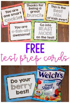 Give students a little encouragement for high stakes testing with these FREE cards you can attach to a healthy snack.