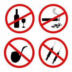 er staat dat je niet moet gaan roken of drugs gebruiken en dat het een soort van verboden is