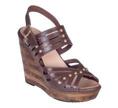 Sandalia cuña marrón - Cuñas - Zapatos - Tiendacuple.com
