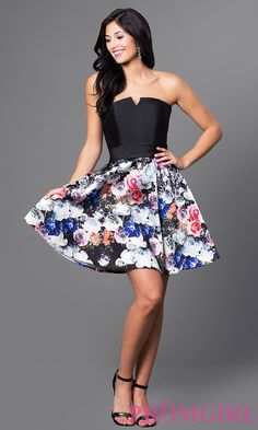 Short floral print a-line homecoming dress by Temptation with a strapless bodice.