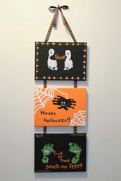 ChemKnits: Trick or Treat; Smell my Feet ChemKnits: Trick or Treat; Smell my Feet Theme Halloween, Halloween Arts And Crafts, Baby First Halloween, Halloween Crafts For Toddlers, Halloween Crafts For Kids, Halloween Projects, Diy Halloween Decorations, Halloween Crafts Kindergarten, Fall Toddler Crafts