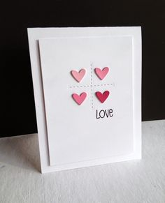 Makes me think of a tic tac toe motif Cricut Birthday Cards, Valentine Greeting Cards, Card Sketches, Love Valentines, Creative Cards, Anniversary Cards, Diy Cards, Homemade Cards, Scrapbooking