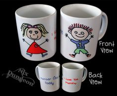 "Mugs pre-printed OR custom made to suit you! Permanent prints that are Dishwasher and Microwave safe, but alas not ""hit the floor"" safe! Ceramic mugs to fit you! Ceramic Mugs, Daddy, My Love, Prints, Products, Ceramic Cups, Beauty Products"