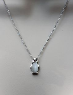 Sterling Silver Penguin Necklace Cat's Eye White by NikolaJewelry
