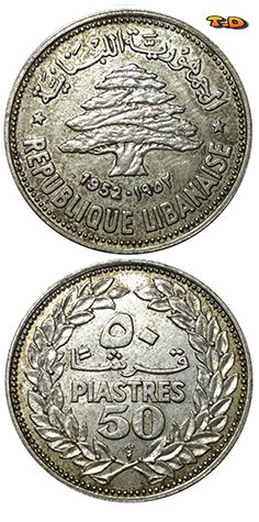 N♡T. Country	Lebanon   Year	1952 Value	50 Piastres (0.50 LBP) Metal	Silver (.600) Weight	5.0 g Diameter	24 mm