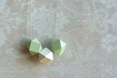 "Geometric  necklace ""White Mint "" // mint white // Minimal style jewelry // wood bead necklace"
