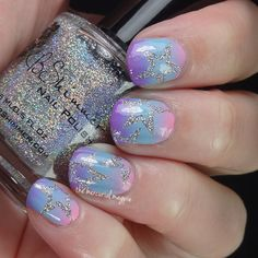 Faded Neon Star Nail Art Using Lou It Yourself Vinyls