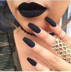 nails, black, and lipstick, matte, jewelry, #gold