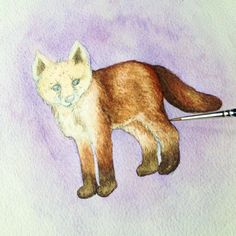 Working on this little fox cub for my woodland animal series.  Art prints available soon on my Etsy.  Original watercolour art .