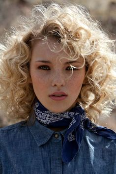 Western bandana head shot. Photographer: Eric Cassee  Makeup Artist: Tonya Noland  Fashion Stylist: Alexandra Evjen  Model: Rachel Yampolsky, Agency Arizona #styling #photography #portrait