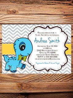 Dinosaur Birthday OR Babyshower Invitation Digital File YOU PRINT | Shower  Invitations, Babies And Babyshower