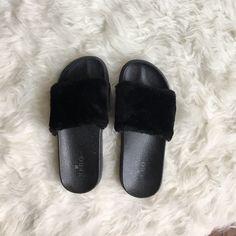 637762f59 Shop Women s Black size 7 Sandals at a discounted price at Poshmark.  Description  Black fuzzy slide sandals