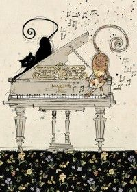 Piano Cats  | bug art H011 | Black Ink |  Designed by Jane Crowther Each card is embossed with gold foil.