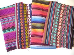 #Tribal #Fabric, #Peruvian Fabric, Woven #Aztec Fabric Bundle, 4 Large Pieces