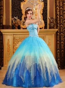 Gorgeous Quinceanera Dress Sweetheart Beading Satin and Organza Multi-color Ball Gown