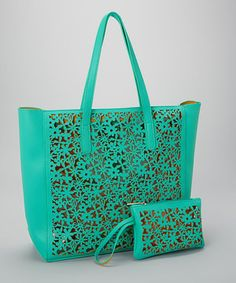 Love this Pink Cosmo Mint Laser-Cutout Tote & Coin Purse by Pink Cosmo on #zulily! #zulilyfinds