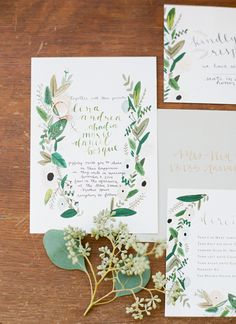 illustrated greenery invitations | J Layne Photography