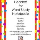 Headers for use in Word Study notebooks includes Synonyms, Antonyms, Homophones, Homographs, Compound Words, Contractions, and Abbreviations Each ...