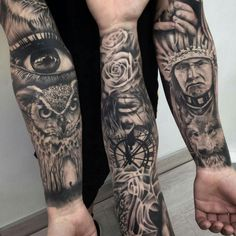Tatoo Henna, Owl Forearm Tattoo, Tatoo Art, Leg Sleeve Tattoo, Great Tattoos, Body Art Tattoos, New Tattoos, Chicano Tattoos, Tattoos For Guys