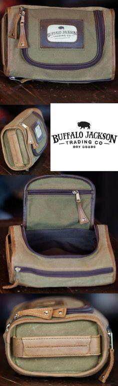 Waxed Canvas and Leather Men's Toiletry Bag | Dopp Kit for Men | Shaving Kit Bag | Men's Travel Bag