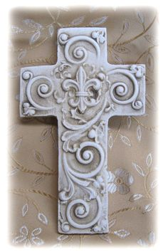 Handmade one at a time fom individual molds. Each hand crafted piece shows a slight variation from one to another which adds the uniqueness to each cross. - Available in antique white finish - Keyhole Clay Cross, Cross Art, Crosses Decor, Wall Crosses, Norwegian Rosemaling, The Cross Of Christ, White Crosses, Religious Icons, Cross Jewelry