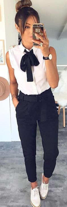 #winter #outfits white button-up sleeveless shirt and blue pants with pair of white shoes outfit