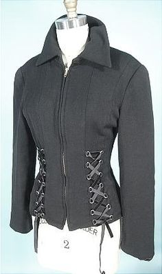 """""""1970's Anne Klein black corset jacket""""  Coolness. I can even see changing up the ribbon color."""