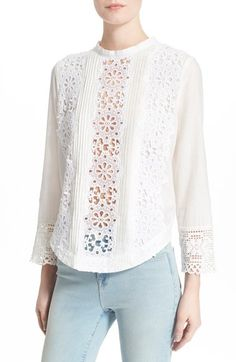 Sea 'Snowflake' Broderie Anglaise & Pleat Top available at Blouse Styles, Blouse Designs, Smocks, White Shirts Women, Mode Chic, Blouse Vintage, Lace Tops, Vintage Outfits, Fashion Outfits
