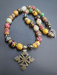by Luda Hunter | Antique African Trade Beads Necklace Tuareg Silver Cross Pendant | $355.55