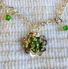 Peridot and Silver Floral Pendant on Silver by BeriMadeJewelry, $15.00