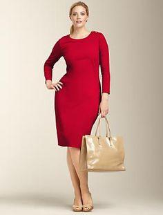 Talbots - Refined Ponte Knit Shoulder-Button Dress