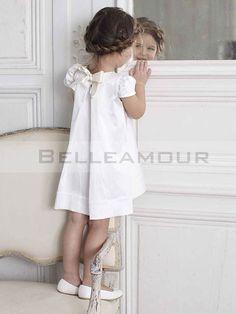 Maudjesstyling: Robe de Cortège Enfant Blanche Manches Courte Noeud