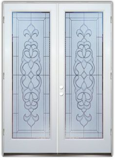 These double entry doors are hand-crafted, sandblast frosted and 3D carved.  Available as interior or entry door in 8 woods and 2 fiberglass. Slab door or prehung any size, or as glass insert only.  Our fun, easy to use online Door Designer gives you instant pricing as YOU customize your door and the glass!  When you're all finished designing, you can place your order right there online!  Doors ship worldwide from Palm Desert, CA. 3-8 weeks depending on door material and glass effect…