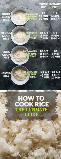 The Ultimate Guide on how to cook short grain, medium grain, long grain, and jasmine rice on the stove top or in an Instant Pot. Cooking Jasmine Rice, Cooking White Rice, Jasmine Rice Recipes, Cooking Rice In Crockpot, White Rice Recipes, Rice Recipes For Dinner, Instant Pot, Rice Types, Rice On The Stove