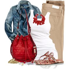 Jeans jacket, white top, camel pants, red accesories
