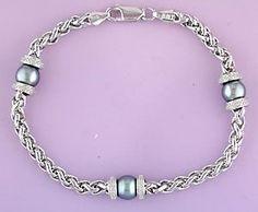 Sterling Diamond & Pearl Bracelet