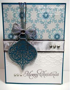 """Stunning Christmas Ornament """"Merry Christmas"""" Card...Stamping with Julie Gearinger: July 31, 3013, Dare to get Dirty Challenge, card #2."""