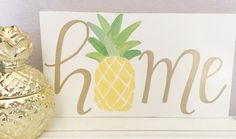 Hand Painted Wood Sign - Old White Annie Sloan Chalk Paint / Gold Lettering - Dimensions: 11 X 5.5 - Can be hung or propped up
