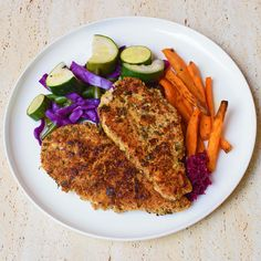 Happy Valentine's Day! I always get drawn into debates about the commercialisation of V Day, and to the cynics, I say: don't let it BE about commercialisation then. Just let it be a reminder to care for your loved ones and take that forward into the year. It is Saturday Schnitty night on #iqs8wp and I loved this paleo crumb, with almond meal, herbs, lemon and garlic. I'm always a big fan of sweet potato chips. We had it with green beans, zucchini, the last of the red cabbage, and kraut.