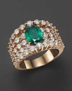 Emerald and Diamond Band in 14K Yellow Gold