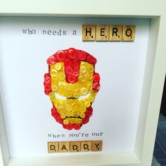 Iron Man super hero Personalised Button Art by Imaginewithbuttons 3d Box Frames, Box Frame Art, Box Art, Button Canvas, Button Art, Button Crafts, Vbs Crafts, Diy Craft Projects, School Projects