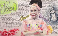http://clelia.org/illustrations Portrait D'Omara Portuondo réalisé après son concert lors du festival Jazz in Marciac 2014