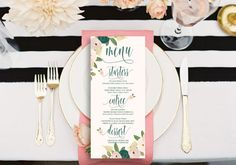 Welcome to Freshmint Paperie!  This listing is for Menu cards pictured above for any occasion. Crisp beautiful text with watercolor floral