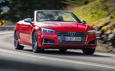 Lataa kuva Audi S5 Cabriolet, 2018 autoja, tie, punainen s5, saksan autoja, Audi