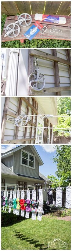 Clothes Line Ideas Backyards Laundry Rooms & Clothes Line Ideas Backyards - Flaschenzug Ideen Deep Cleaning Tips, House Cleaning Tips, Outdoor Clothes Lines, Ideas Terraza, Restaurant Patio, Simple Life Hacks, Full House, Pulley, Garden Furniture