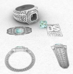 CAD Design for a silver and Aquamarine ring, modeled in Rhino and rendered in Vray - Damian Stone